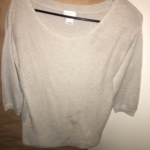 Half sleeve gold/white sparkly knit sweater
